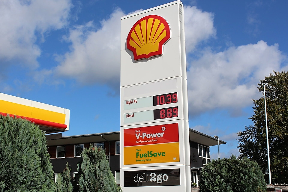 fuel prices displayed at a Shell station